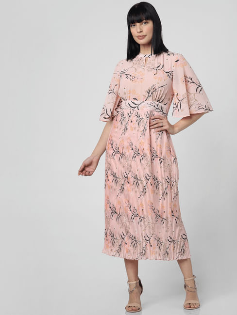 Pink Floral Print Pleated Dress