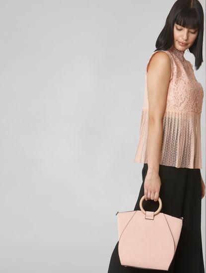 Pink Circular Handle Handbag