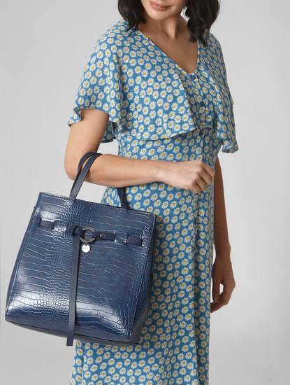 Blue Textured Shoulder Bag