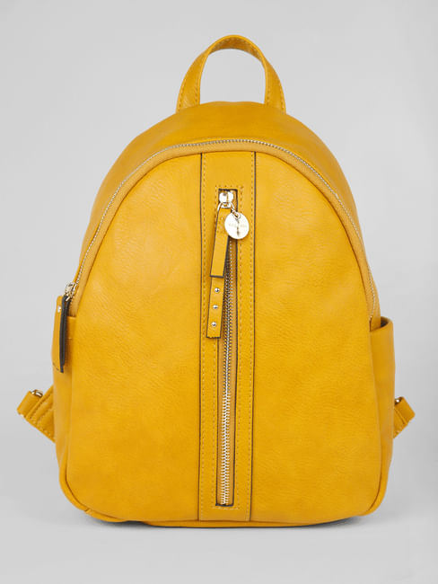 Mustard Front Zip Backpack