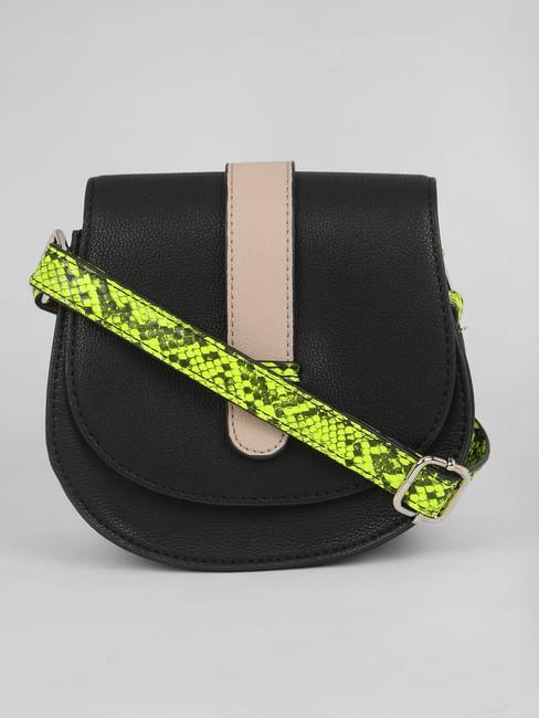 Black Contrast Detail Crossbody Bag