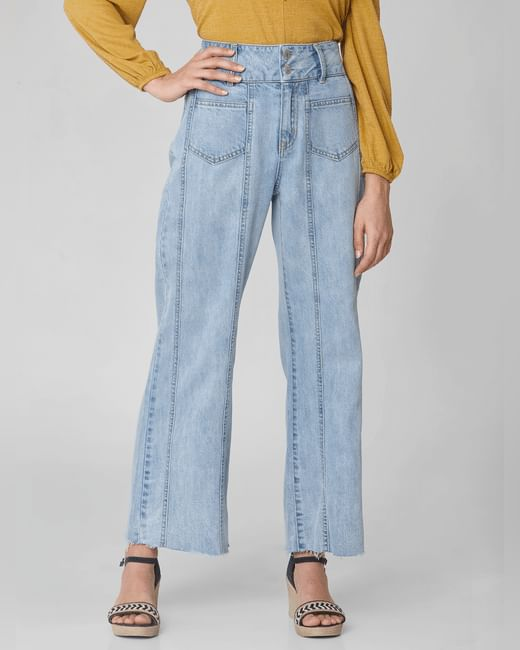 Light Blue High Rise Flared Jeans