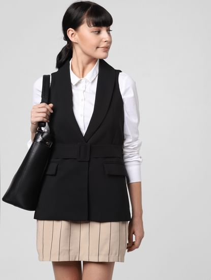 Black Tonal Belt Blazer
