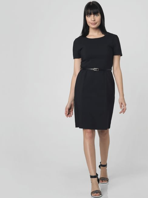 Black Belted Sheath Dress