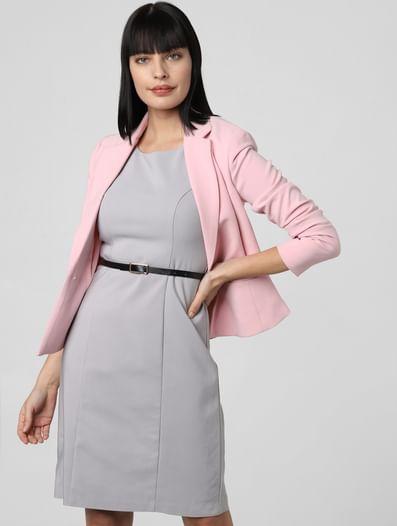 Grey Belted Sheath Dress