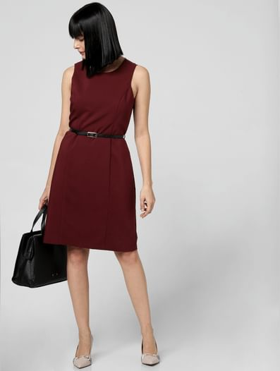 Burgundy Belted Sheath Dress