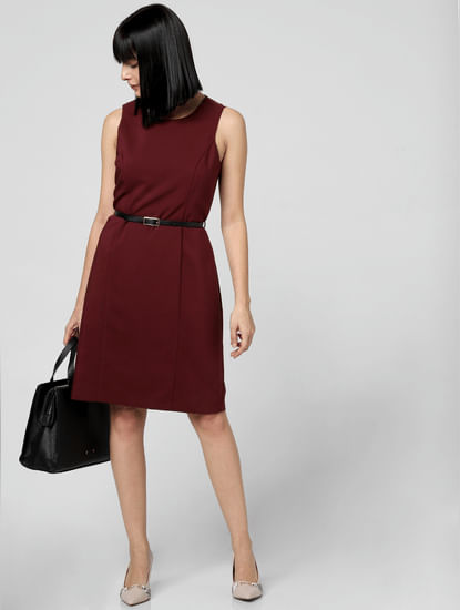 Burgundy Belted Sheath Dress