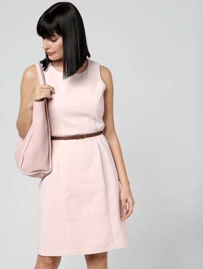 Pink Belted Sheath Dress
