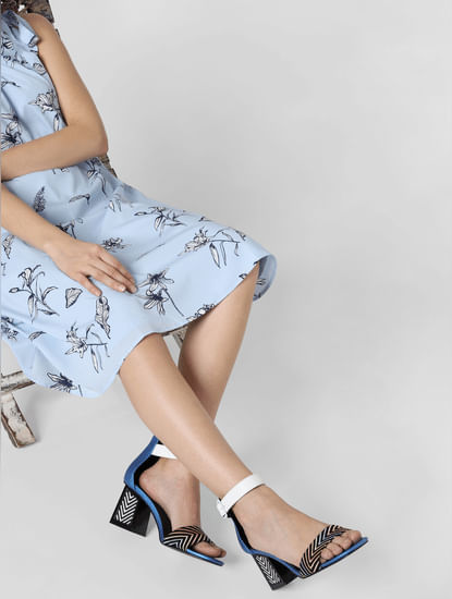 Blue Printed Block Heels