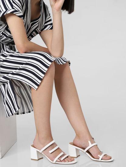 White Transparent Strap Block Heels