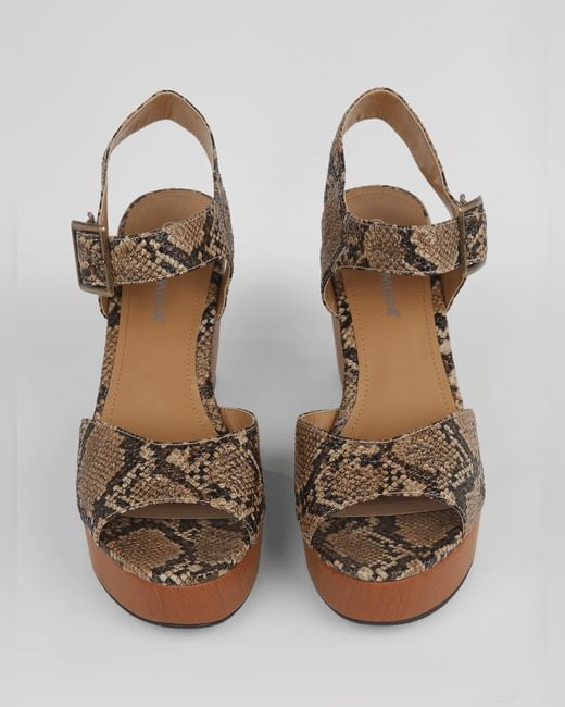 Brown Snake Print Wedges