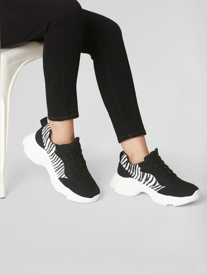 Black Printed Patch Sneakers