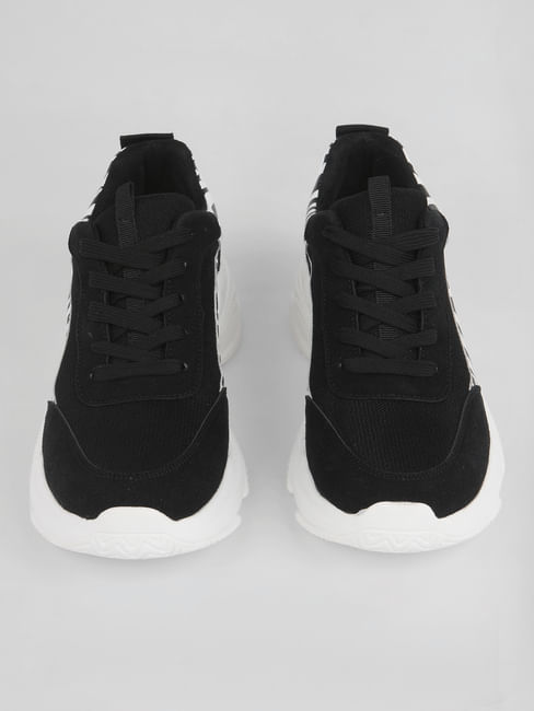 Black Printed Patch Sneakers