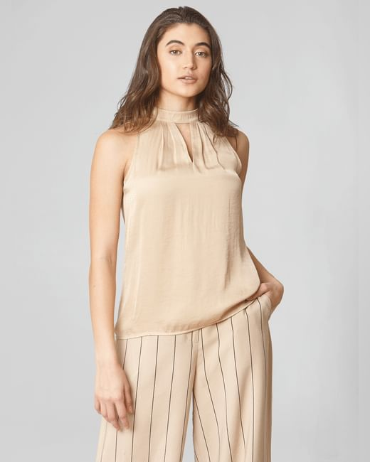 Beige High Neck Top