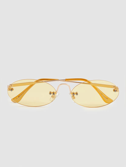 Yellow 90's Rimless Sunglasses