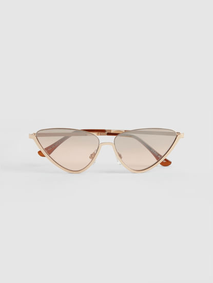 Golden Geometric Frame Sunglasses