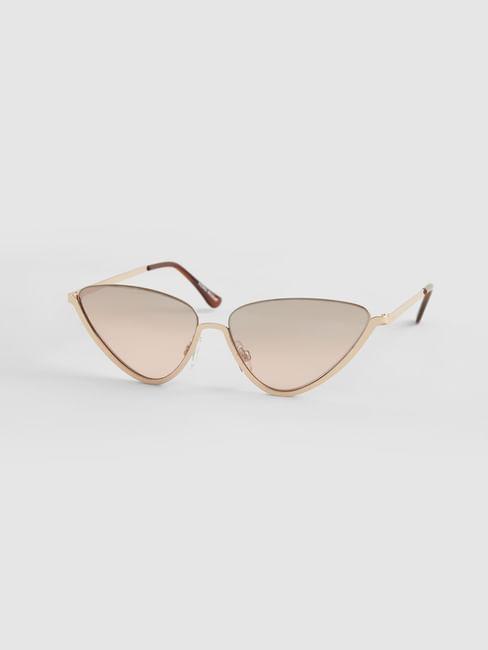 Golden Geometric Frame Sunglasses