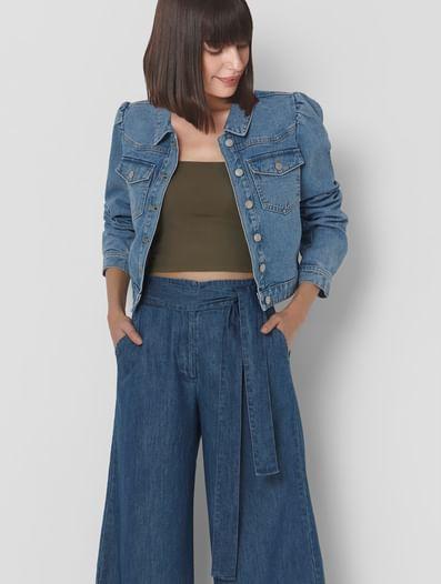 Blue Cropped Denim Jacket