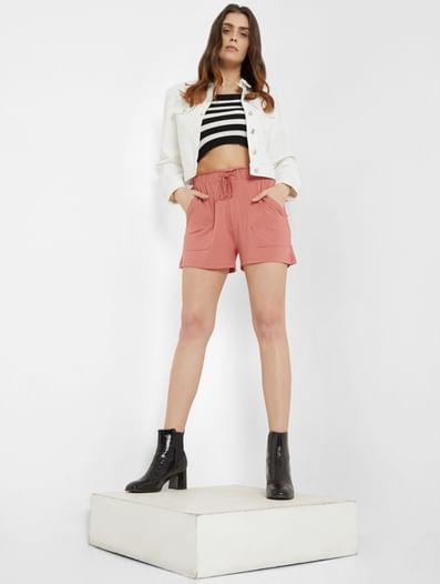 Pink High Rise Shorts