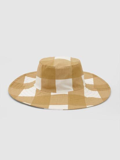 Beige Check Hat