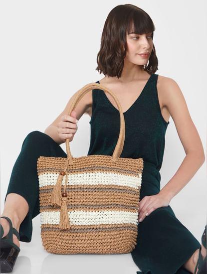 Beige Striped Straw Bag