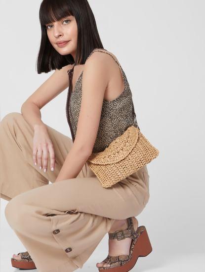 Beige Woven Straw Flap Crossbody Bag