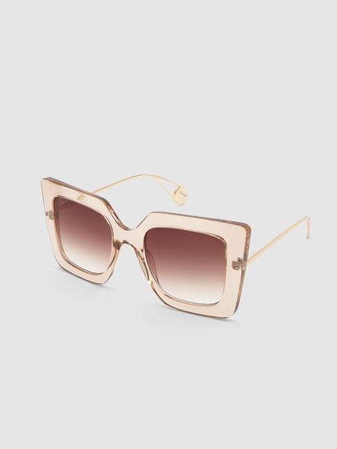 Beige Transparent Frame Sunglasses