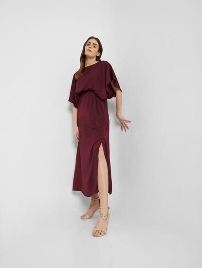Maroon Satin Maxi Dress