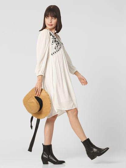 White Embroidered Shift Dress