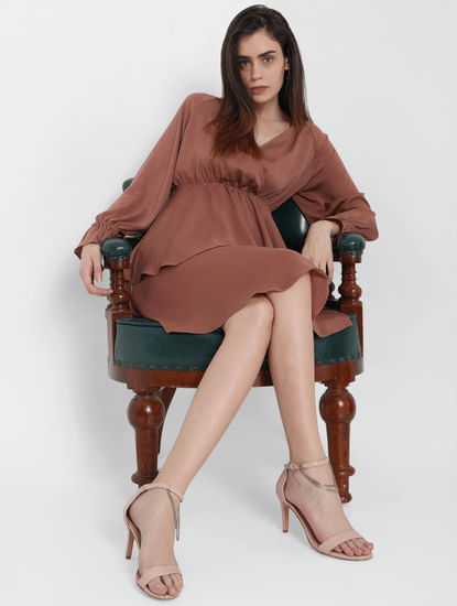 Brown Tiered Fit & Flare Dress