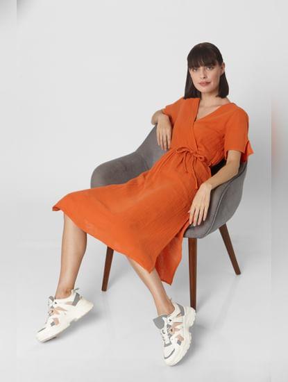 Orange Organic Cotton Caftan Midi Dress