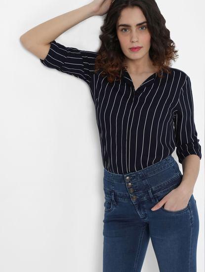 Blue High Rise Corset Waist Skinny Jeans