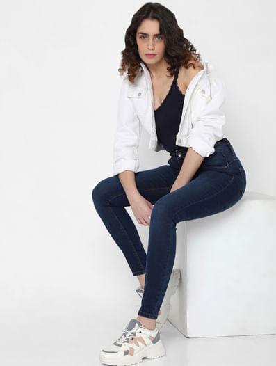 Blue Mid Rise Super Skinny Jeans