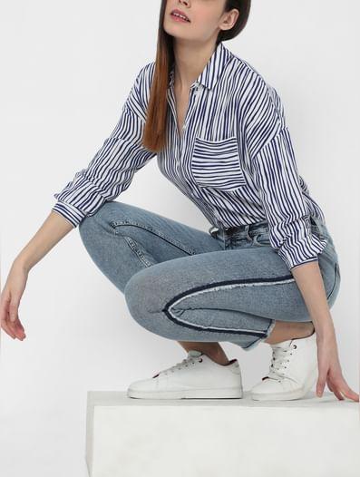 Light Blue High Rise Side Fray Detail Slim Fit Jeans