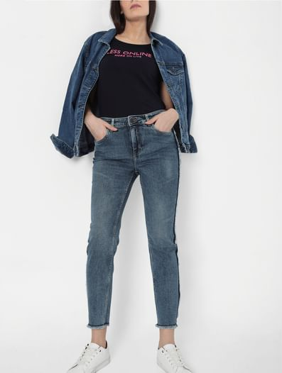 Blue High Rise Side Fray Detail Slim Fit Jeans