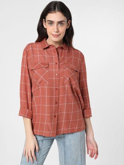 Brown Windowpane Check Shirt