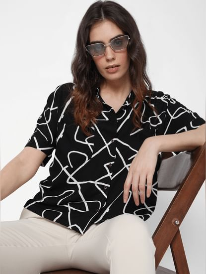 Black Abstract Print Oversized Cropped Shirt