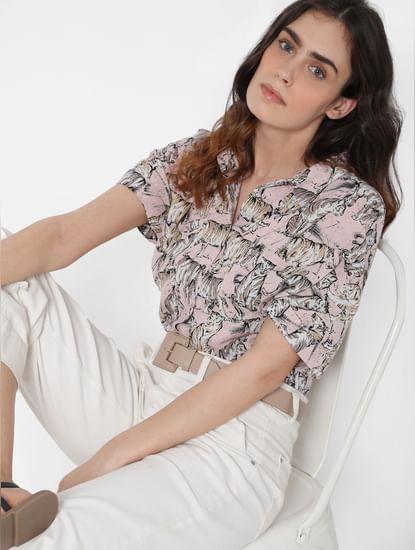 Pink Tiger Print Oversized Cropped Shirt