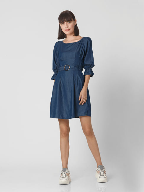 Blue Denim Fit & Flare Dress
