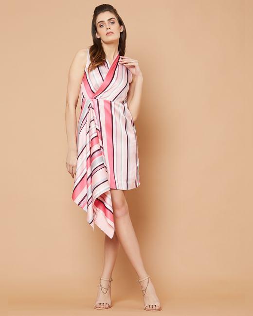 Marquee Pink Striped Asymmetric Sheath Dress