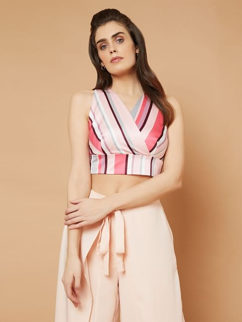Marquee Pink Striped V Neck Crop Top