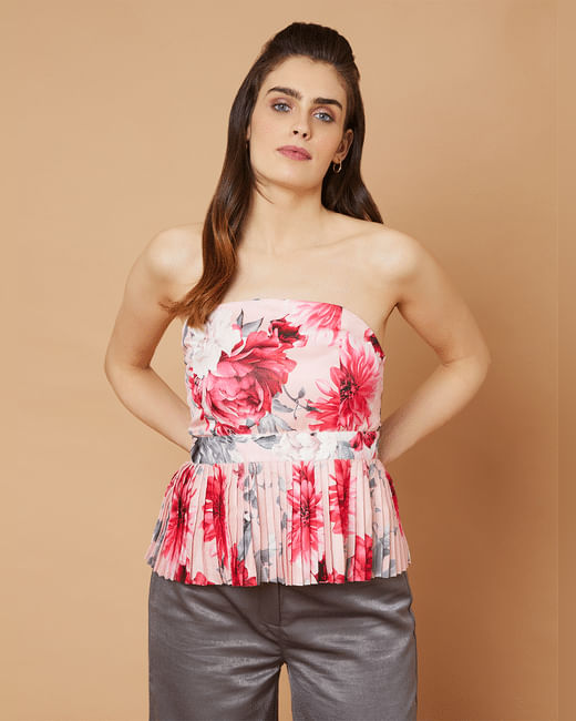 Marquee Pink Floral Pleated Strapless Peplum Top