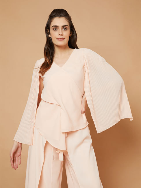 Marquee Pink Pleated Cape Sleeves Top