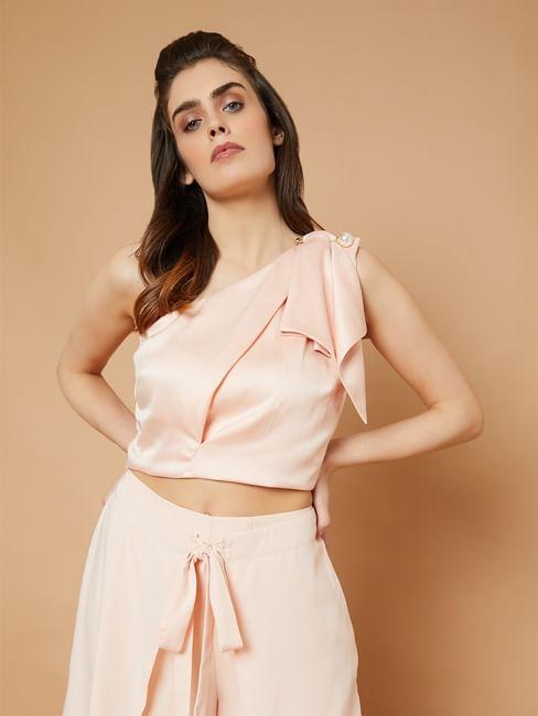 Marquee Pink One Shoulder Crop Top