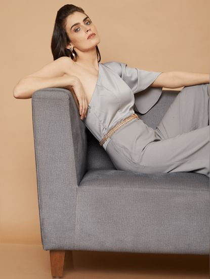 Marquee Grey One Shoulder Jumpsuit