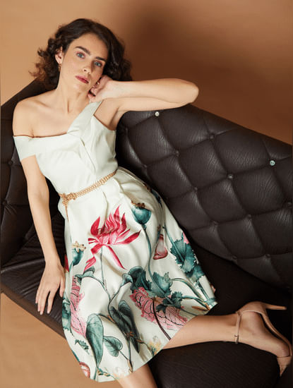 Marquee Beige Floral Off Shoulder Fit & Flare Dress