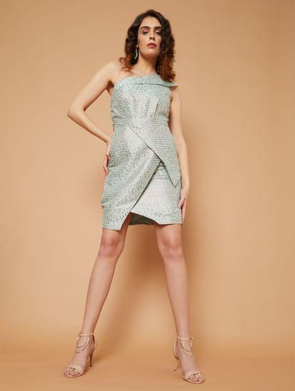 Marquee Blue Striped Jacquard Sheath Dress