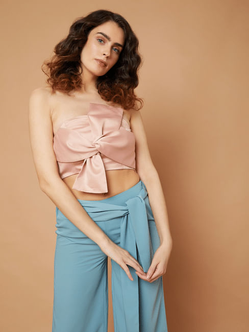 Marquee Pink Strapless Front Bow Crop Top