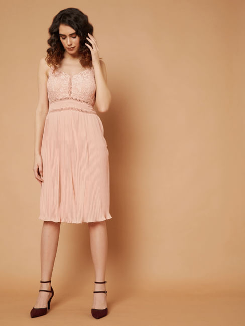 Marquee Pink Lace Pleated Fit & Flare Dress