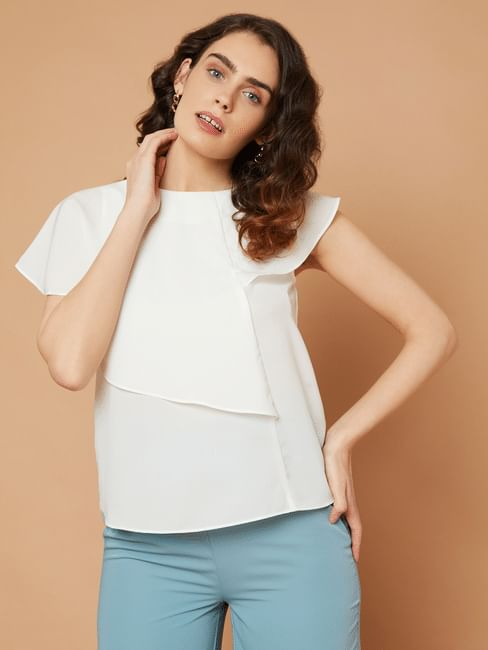 Marquee White Flounce Top